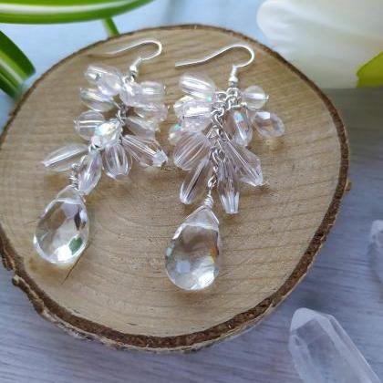 Clear cluster wedding earrings,Bold..