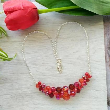 Red beaded bib necklace, Christmas ..