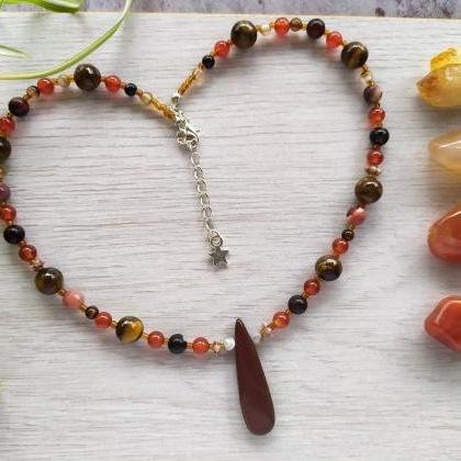 Brown gemstone choker, Brown orange..
