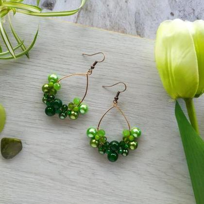 Green chandelier earrings, Green bo..