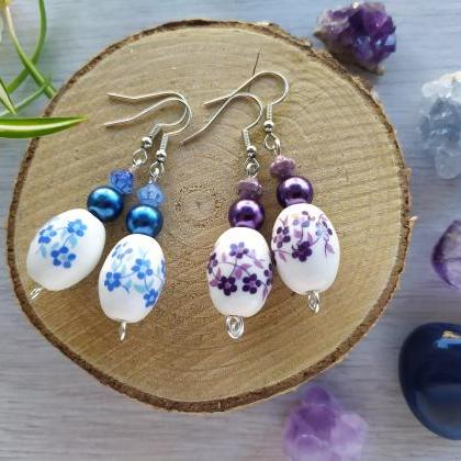Purple boho dangles, Dark blue boho..