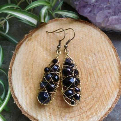 Black wire wrapped earrings, Bohemi..