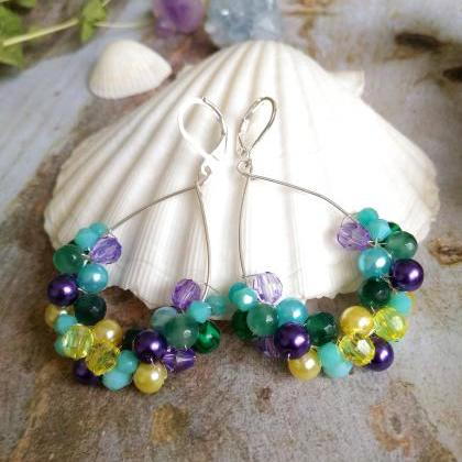 Blue purple green yellow earrings, ..