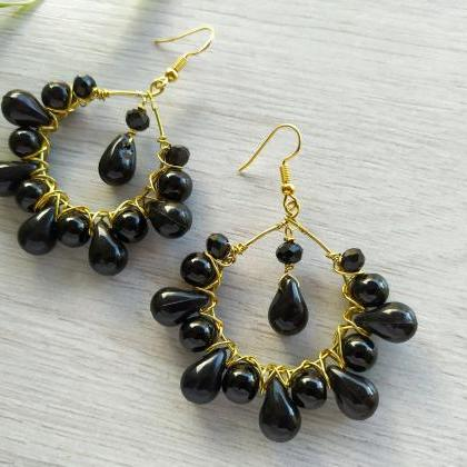 Black and gold chandeliers, Black w..