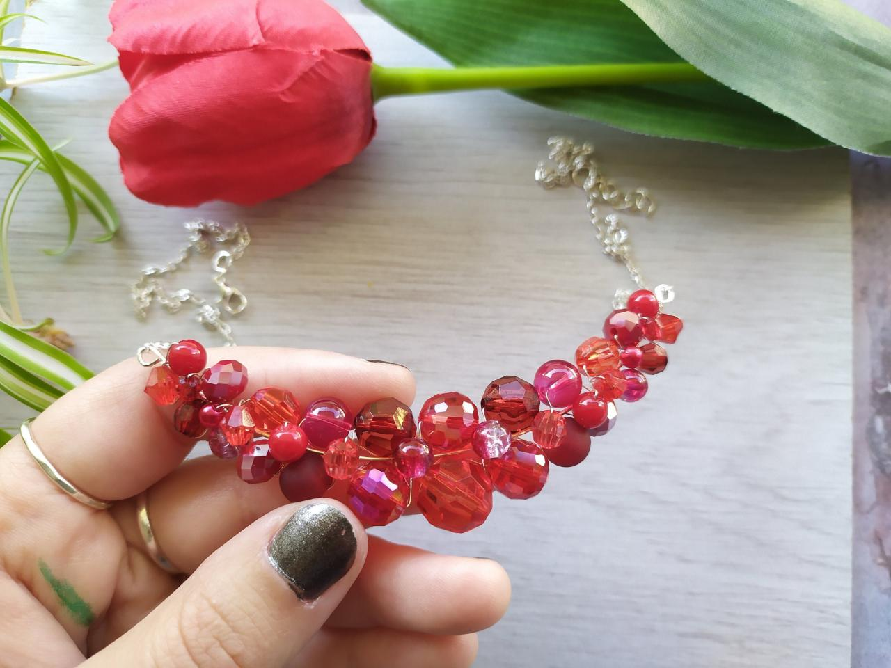 Red beaded bib necklace, Christmas jewelry, Bold red jewelry for gifting, Wire wrapped red silver necklace, Red boho statement necklace