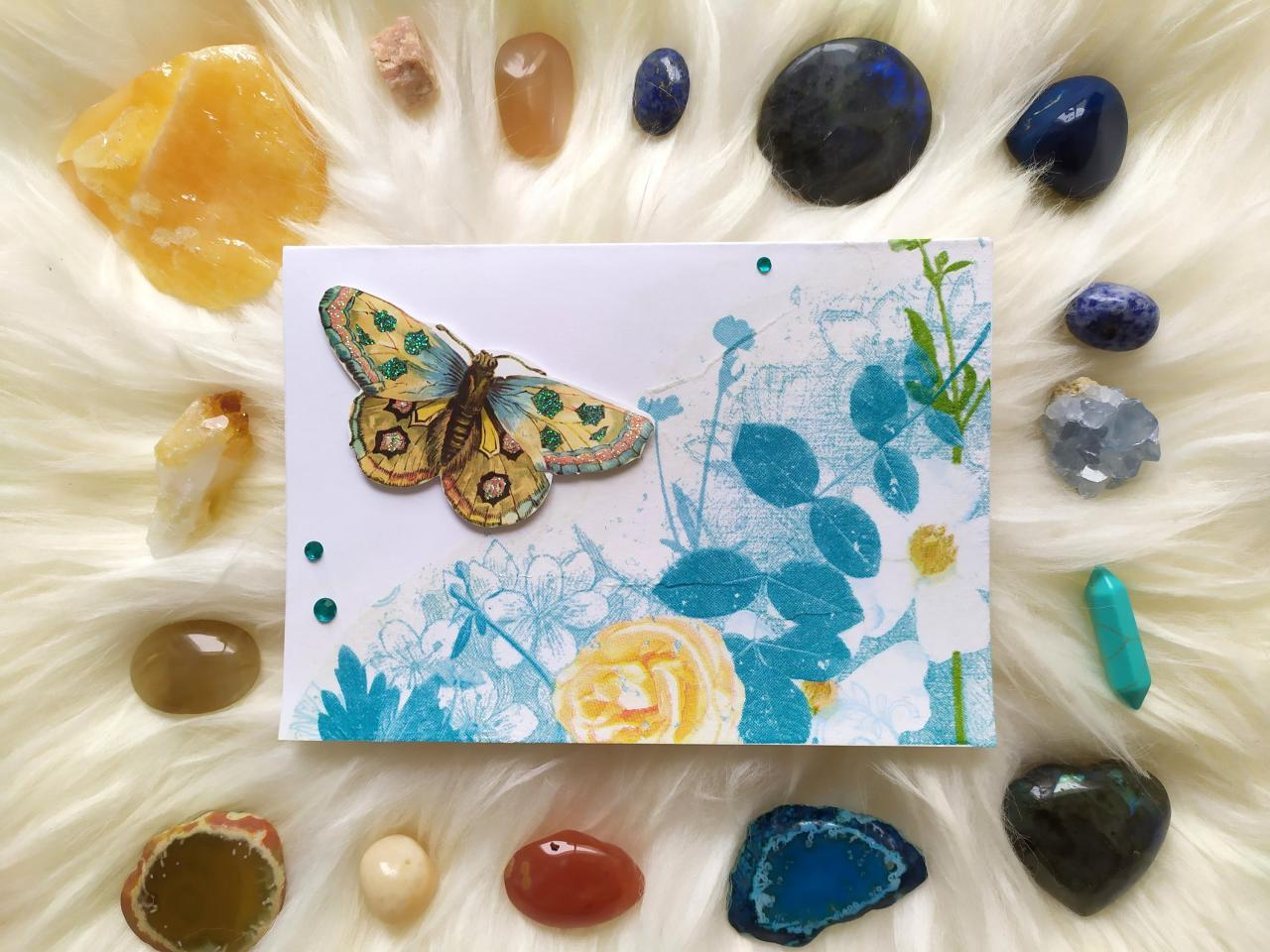 Happy birthday floral greeting card, Fresh spring inspired card, Yellow blue teal summer greeting card, Scrapbooking rose butterfly card