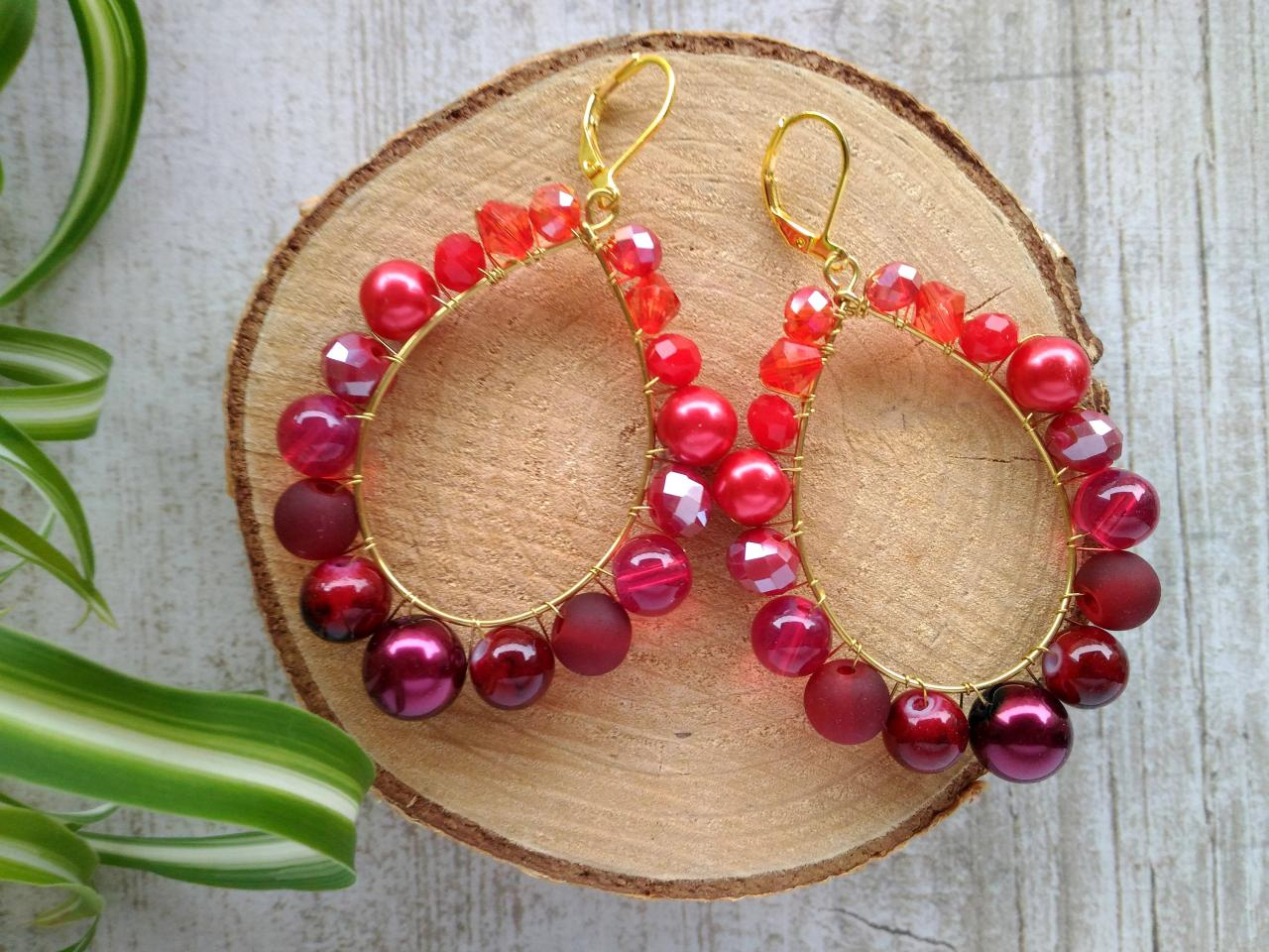Red beaded earrings, Luxurious red boho wire wrapped earrings, Summer red and gold earrings,Statement jewelry,Gift for her,Festival jewelry