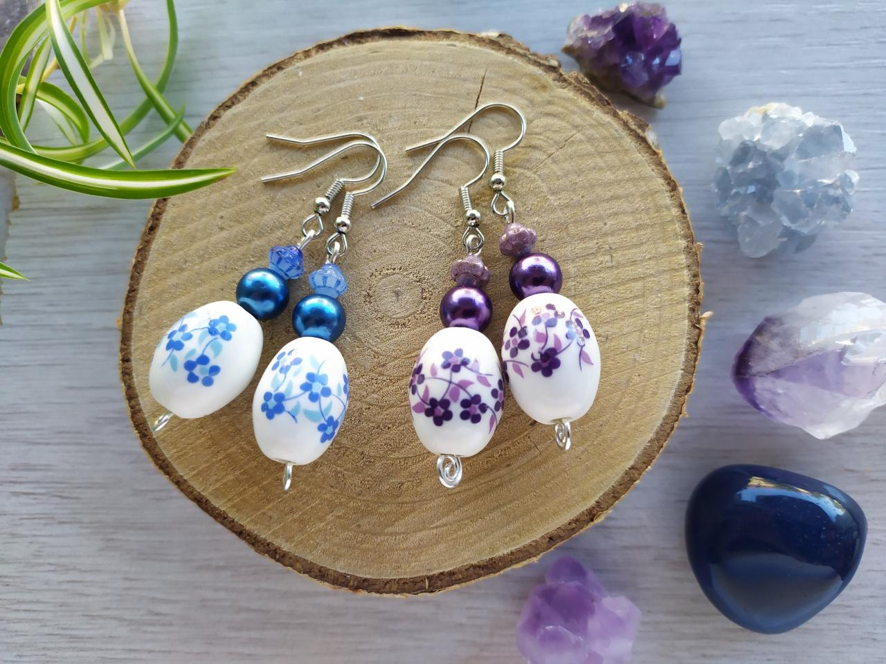 Purple boho dangles, Dark blue boho earrings, Floral porcelain bead dangle earrings, Elegant Dark blue earrings, Dainty delicate earrings