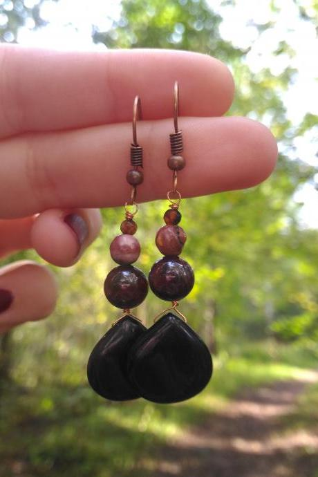 Mixed gemstone earrings, Black onyx Granate Mookaite Carnelian earrings, Root chakra earrings, Black red drop earrings,Dainty gemstone drops