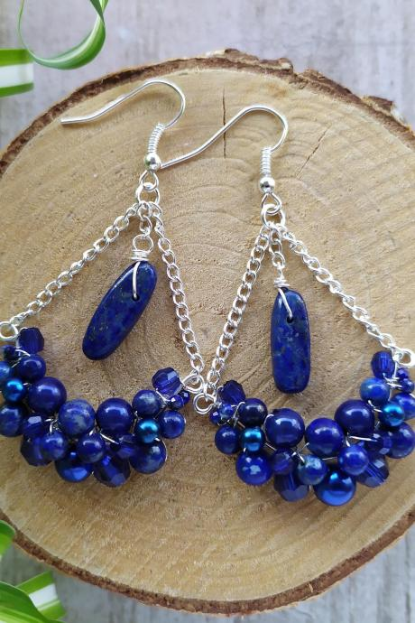 Blue and silver gemstone chandelier earrings, Blue bubbly swings with Lapis Lazuli, Blue boho earrings with natural stones,Bohemian earrings
