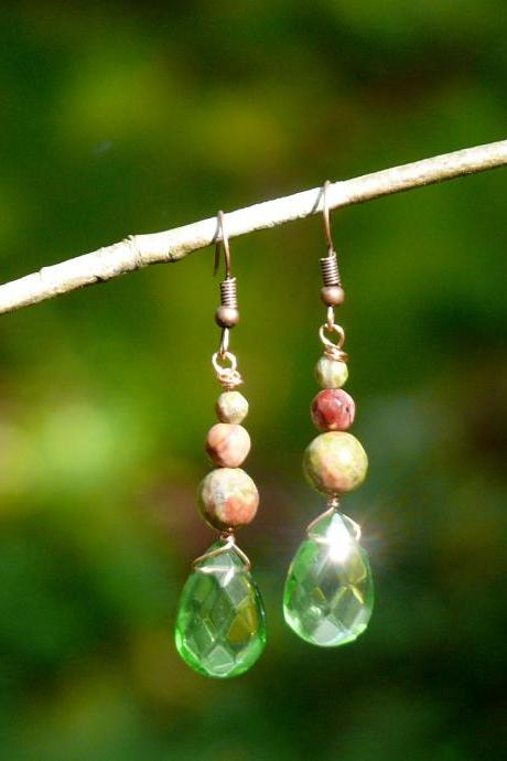 Green Mixed gemstone earrings, Unakite and Mookaite earrings, Green brown drop earrings, Dainty gemstone drops, Crystal green earrings