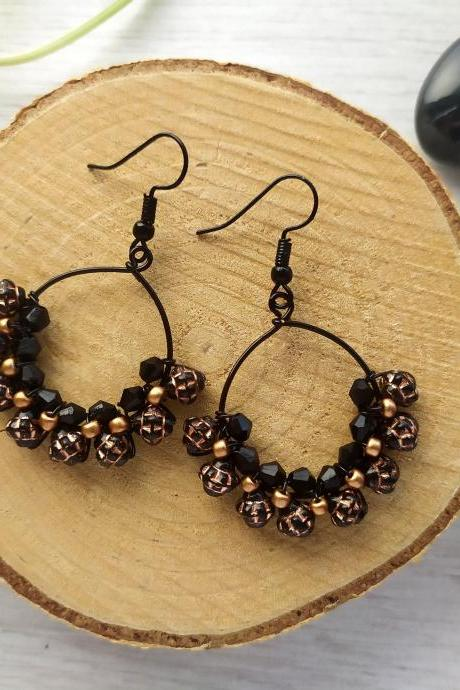 Black and copper bubbly hoops, Wire wrapped black copper earrings, Black dainty boho earrings, Bohemian jewelry, Statement earrings