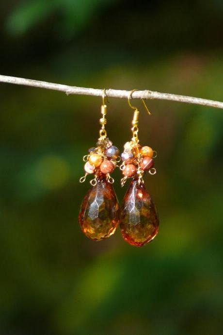 Autumn cluster earrings, Brown gold large drop earrings, Wire wrapped beaded earrings, Agate Mookaite Goldstone earrings, Gemstone earrings