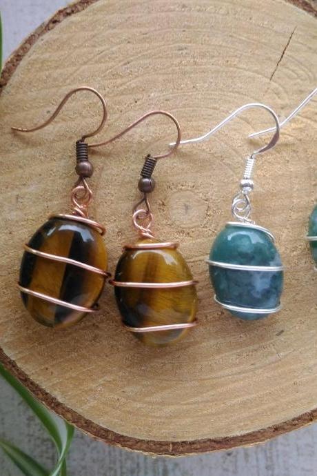 Wire wrapped gemstone earrings, Tigers eye earrings, Blue green Agate earrings, Dainty gemstone dangles, Small copper and silver earrings