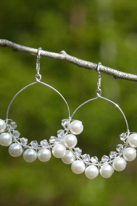 White pearl hoop earrings, Bohemian pearl white hoops, White boho earrings, Wire wrapped white and silver wedding earrings, Bridal earrings