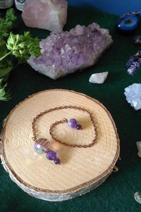 Purple gemstone pendulum, Amethyst Third Eye Chakra Dowsing pendulum, Oracle reading pendulum, Divination pendulum, Wicca, Healing Dowser