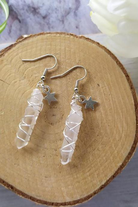 Clear Quartz point earrings, Raw Genuine Quartz crystal earrings, Dainty gemstone dangles,Clear wire wrapped crystal points with star charms