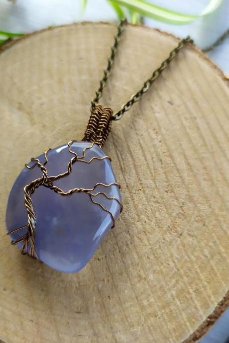Wire wrapped blue Chalcedony tree of life pendant, Blue boho gemstone necklace, Dainty bronze wire wrapped tree, Chalcedony stone necklace