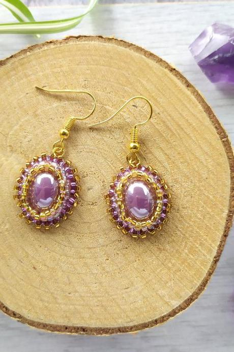 Lavender purple and gold earrings, Bead embroidered seed beads earrings with porcelain cabochon, Purple boho dangles, Elegant delicate drop