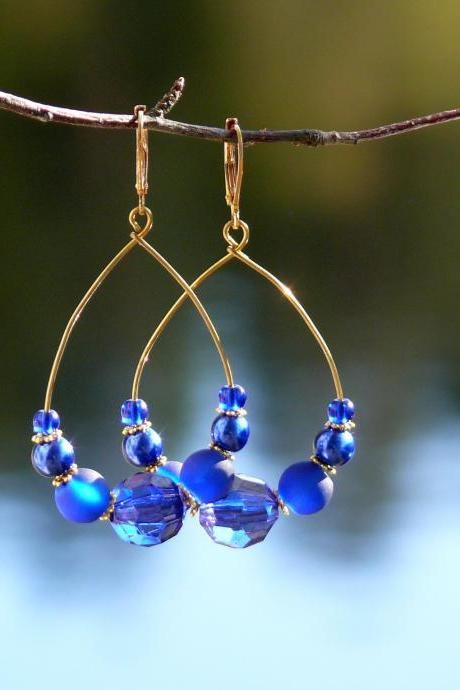 Royal blue earrings, Blue gold earrings, Bohemian hoop earrings, Blue boho earrings, Dark blue everyday earrings