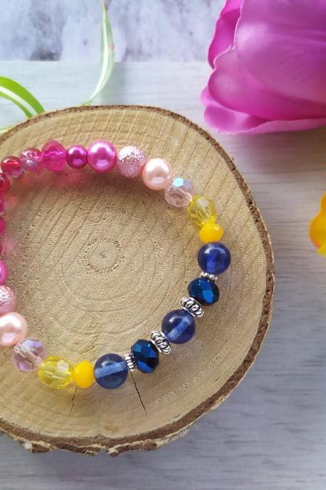 Spring collection: Pink yellow blue stretch bracelet, Dark blue soft pink yellow beaded bracelet, Hot pink yellow blue elastic bracelet