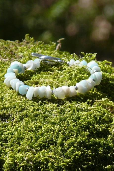 Amazonite chipstone bracelet, Green boho gemstone bracelet, Light turquoise natural stone bracelet, Gypsy beach bohemian jewelry bracelet