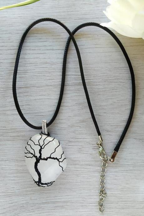 Wire wrapped tree of life pendant, White and black boho Quartz gemstone necklace, Dainty black wire wrapped tree Snow Quartz stone necklace