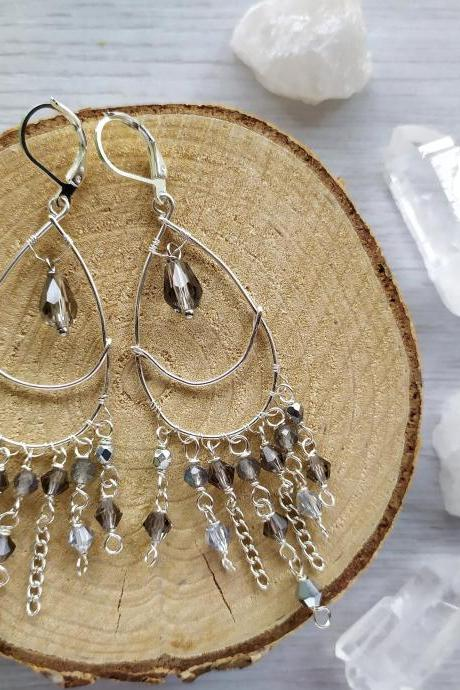 Silver moon chandelier earrings, Long wire wrapped gemstone earrings, Grey boho Labradorite dangle earrings, Statement bohemian jewelry