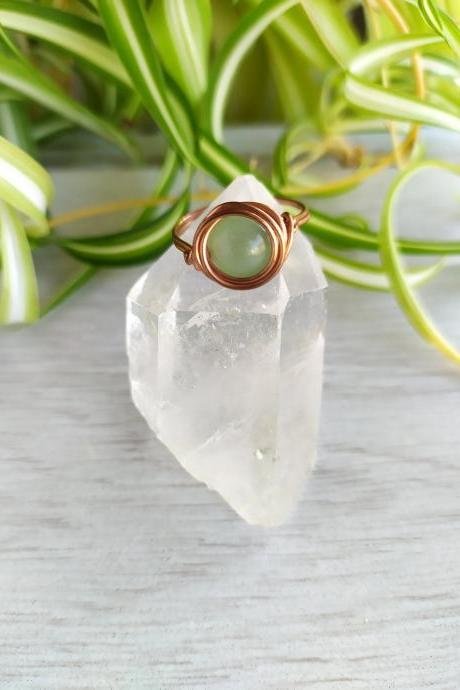 Wire wrapped gemstone ring, Simple wire band ring with gemstone, Rose Quartz Hematite Aventurine copper boho ring, Stacking crystal ring