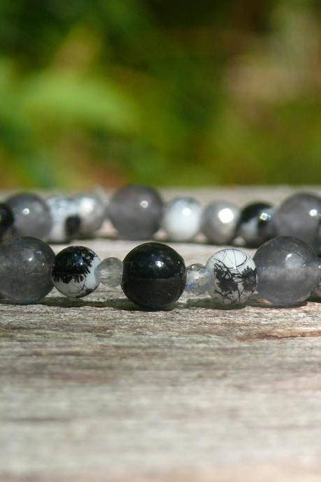 Black mixed gemstone bracelet, Agate Hematite Labradorite boho bracelet,Elegant grey stretch bracelet, Healing protection Bracelet for men