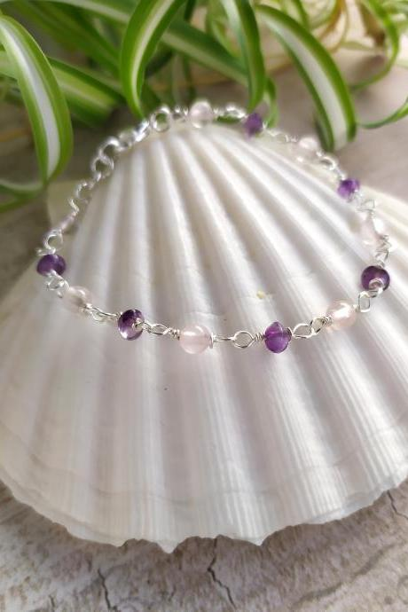 Amethyst Rose Quartz bead chain bracelet, Pink and purple boho gemstone bracelet, Natural stone bracelet, Romantic bohemian jewelry bracelet
