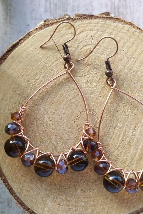Brown beaded earrings, Brown and copper bubbly hoops, Wire wrapped copper elegant earrings, Autumn style earrings, Earrings in natural tones