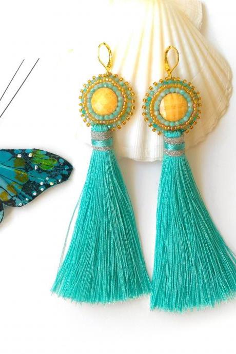 Long tassel earrings with Amazonite gemstone, Turquoise and yellow bead embroidery earrings, Bohemian statement earrings with cabochon