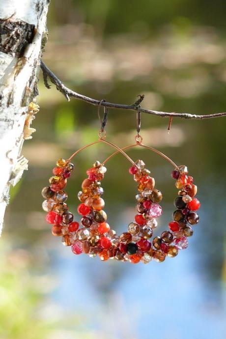 Big red hoop earrings, Red and brown hoops, Big red boho earrings, XXL Wire wrapped copper hoops,Red dangle earrings,Red chandelier earrings