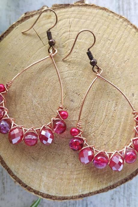 Red beaded earrings, Wire wrapped copper hoops, Elegant red earrings, Bloody red earrings, Chandelier earrings, Small gift ideas,Red dangles