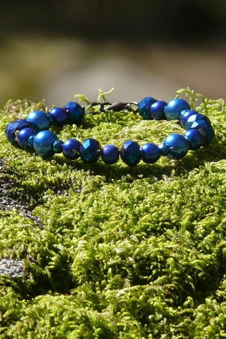 Dark blue bracelet, Blue and copper beaded bracelet, Elegant royal blue bracelet, Birthday gift, Bohemian bracelet, Glass bead bracelet
