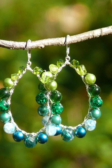 Large green teal hoop earrings, Statement earrings with green beads, Dark green boho ombre hoops, Emerald green wire wrapped chandeliers