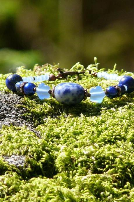 Sodalite and Lapis lazuli gemstone bracelet, December birthstone bracelet, Blue boho gemstone bracelet for her,Natural stone copper bracelet