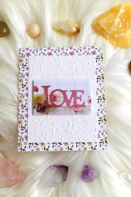 LOVE wedding congratulation card, Engagement greeting card, Valentines card with rose, Floral affection scrapbooking card, 3D handmade card