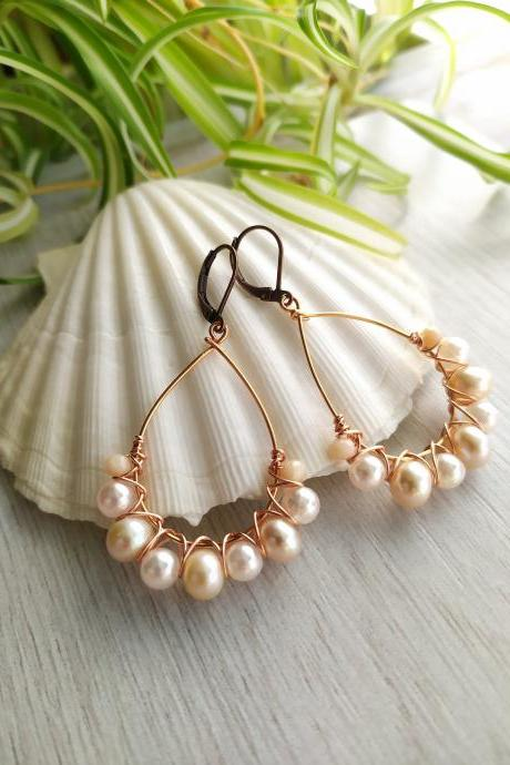Fresh water pearl hoops, Wire wrapped copper hoop earrings with pearls,Elegant peach pearl dangles,Beige soft pearl chandeliers,Gift for her