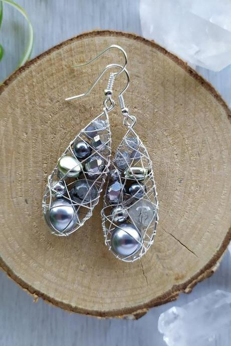 Long silver boho earrings, Bohemian silver earrings, Grey and silver drop earrings, Elegant grey earrings,Wire wrapped earrings,Gift for her