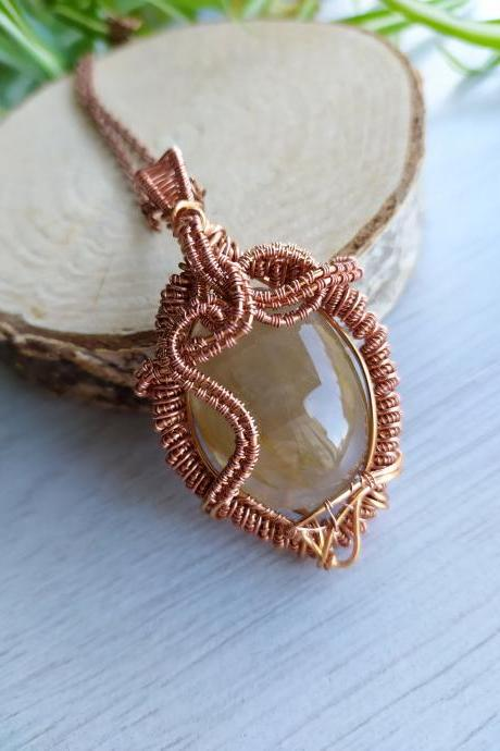 Rutilated Quartz wire wrapped copper pendant, Yellow gemstone necklace, Tumbled stone necklace, Bohemian jewelry, Third Chakra boho necklace