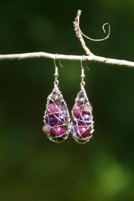 Purple wire wrapped earrings, Violet drop earrings, Bohemian dangle earrings, Purple boho earrings, Elegant plum purple earrings