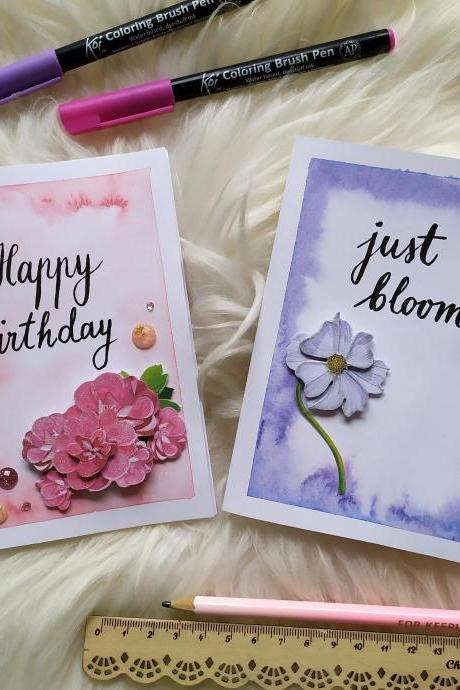 Purple motivation 3D greeting card, Floral lettering gifting card with inspirational quote, Pink birthday card watercolor handwritten card