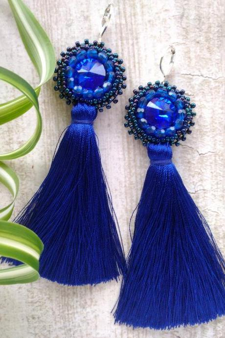 Long tassel earrings with Swarovski rivoli crystals, Royal blue bead embroidery earrings, Bohemian statement earrings, Elegant blue earrings