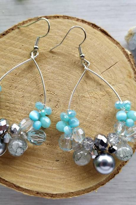 Light Blue and silver earrings, Blue chandelier earrings, Blue boho earrings, Wire wrapped silver beaded earrings, Pastel blue ombre dangles