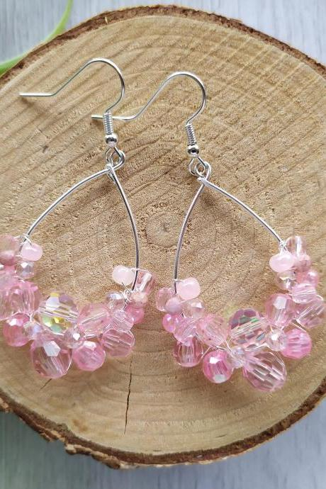 Soft pink and silver earrings, Baby pink wire wrapped earrings, Bridesmaid wedding earrings, Romantic Pink boho earrings, Pink chandeliers