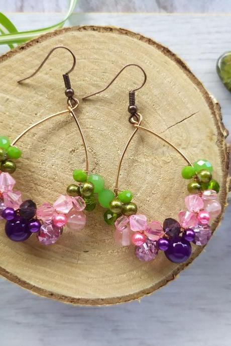 Purple pink green hoop earrings, Wire wrapped pink boho earrings, Spring vibe earrings, Statement floral inspired earrings, Flowery dangles