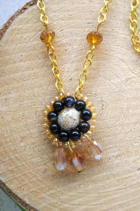 Brown gold boho necklace, Picture Jasper and Agate short chain necklace, Bohemian beaded pendant, Gypsy style necklace, Bead woven pendant
