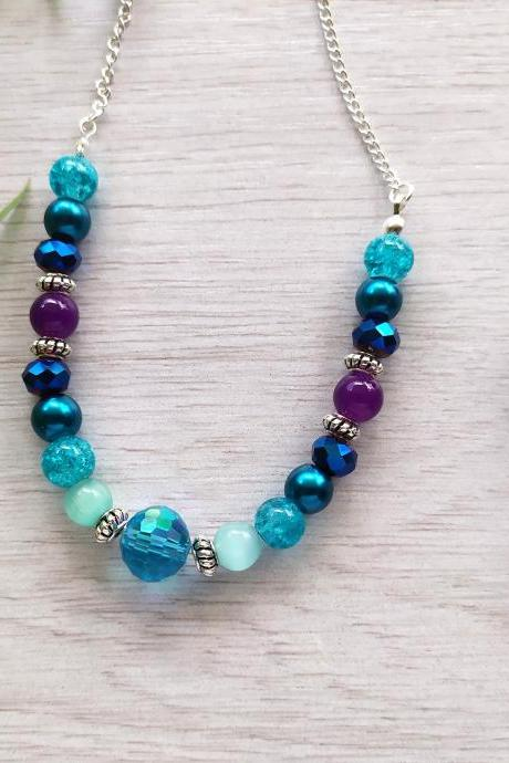 Blue purple turquoise bead necklace, Galaxy color necklace, Multicolor beaded necklace, Colorful boho necklace, Dark blue purple necklace